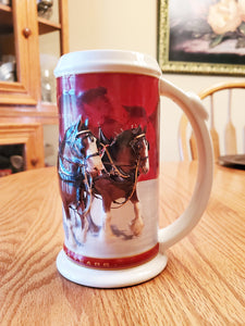 Budweiser Beer Stein Mug 2004 Holiday 25th Anniversary Ed. Clydesdale