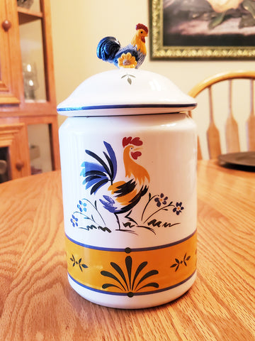 "Avon rooster canister / cookie jar - 9"" tall"