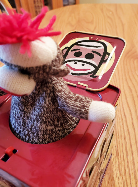 "SCHYLLING SOCK MONKEY TIN JACK IN THE BOX PLAYS ""POP GOES THE WEASEL"""