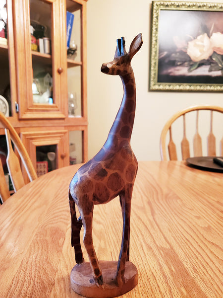 Wooden Hand Carved GIRAFFE 12 inches tall