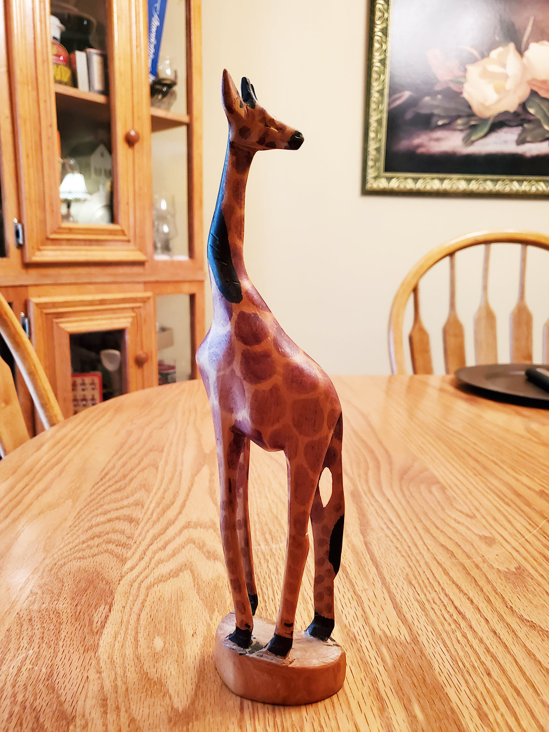 Wooden Hand Carved GIRAFFE 11 1/2 inches tall