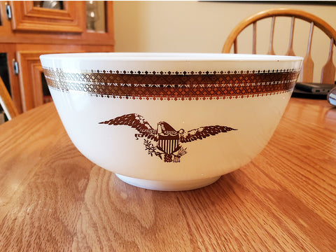Vintage Pyrex Glass Mixing Bowl White Brown Federal Eagle