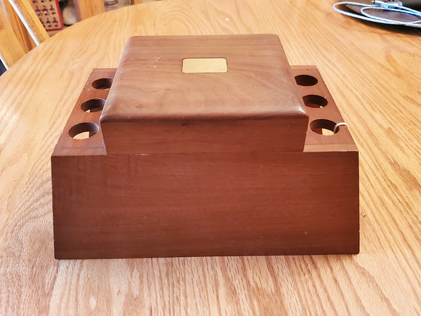 Decatur Industries 6 Pipe Rack Stand Tobacco Box Walnut Humidor