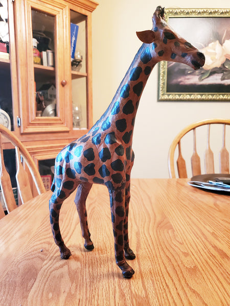 Vintage Tall Leather Wrapped African Giraffe