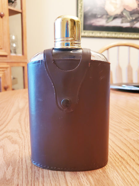 Vtg Elyte Top grain cowhide leather flask holder w/ bottle. Made in England