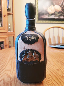 Vintage Leather & Cowhide Tequila Bottle