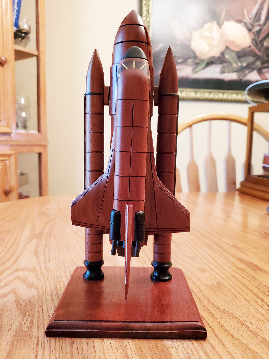Vintage Wood Space Shuttle Model On Wood Base