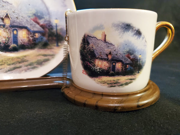 "Thomas Kinkade ""Moonlight Cottage"" Decorative Cup Saucer Set With Stand"