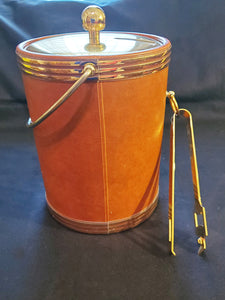 Vtg Kraftware Ice Bucket Faux Brown Leather Gold Mid Century with Recipes