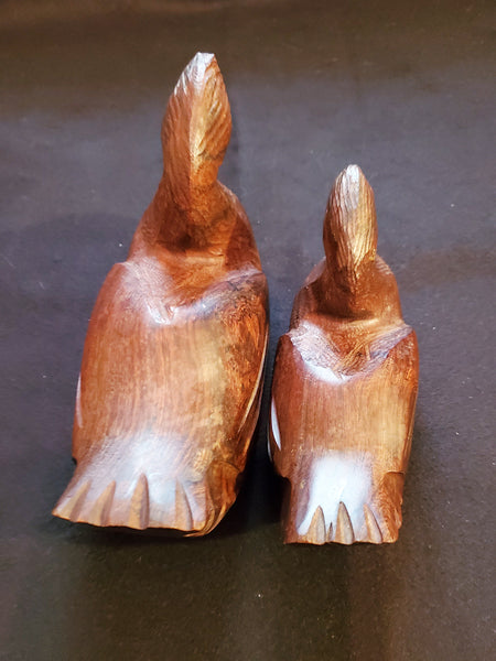 "Vintage Pair of Ducks Carved Figures Decoys Wood 9"" & 7"" length"