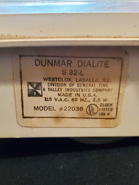 Vintage Westclox Electric Dialite Dunmar S32-L Super Retro Alarm Clock Tested