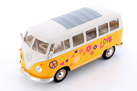 1963 Volkswagen Classic Bus with Love/Peace Decals 1:24 - Assorted colors
