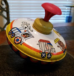 Ohio Art Circus Train spinning tin top
