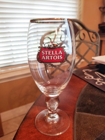 Stella Artois Belgium Stemmed Beer Pub Glasses Set of 2. Gold Rim 40 cl