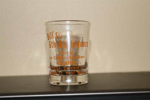 Vintage local advertising shot glass