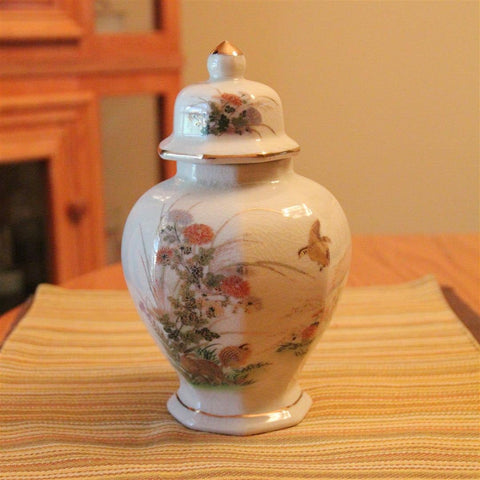 Otagiri Quail Birds Gold Floral Vintage Japan Urn Jar with lid
