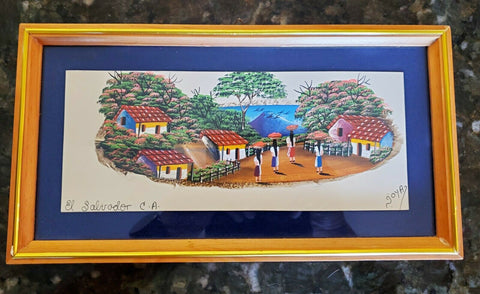 Handmade in EL Salvador C.A Artist Signed Framed Landscape Painting on Feather