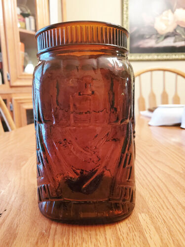 Vintage Brown Glass Indian Chief Jar Cigar Tobacco Holder Humidor