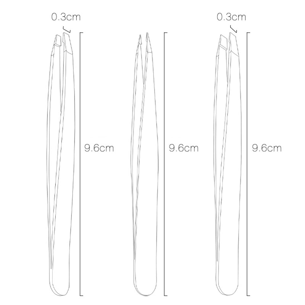 Comfortable Eyebrow Tweezers with Bag Case 3 pcs