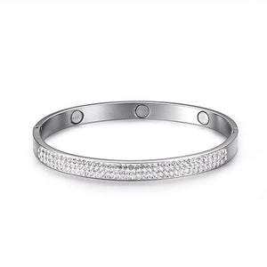 Magnetic Stainless Steel Bangle With Rhinestones