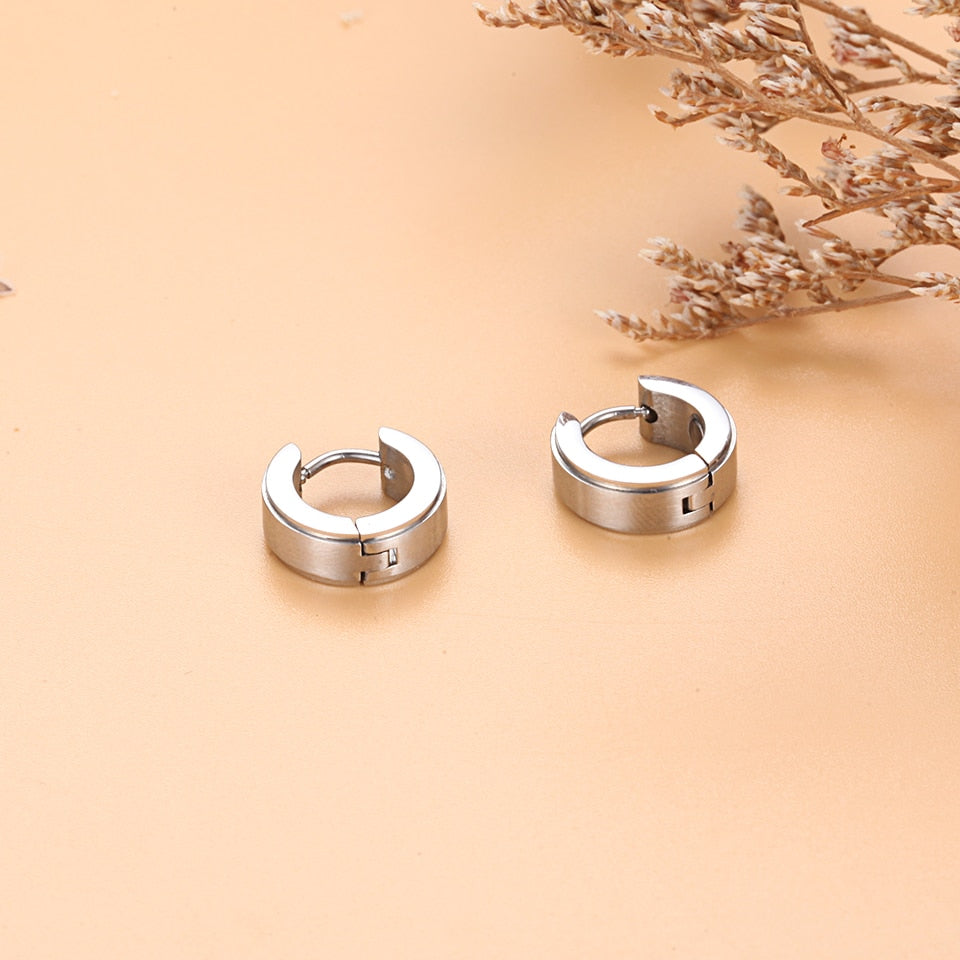 Stainless Steel Magnetic Big Round Drop Earrings