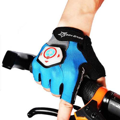 ROCKBROS Unisex Summer Half Finger Riding Gloves With Intelligent Steel Ring Light Luminous Gloves