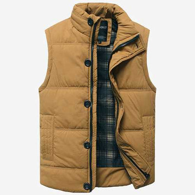 Mens Stand Collar Warm Thick Winter Fashion Slim Fit Waistcoat Solid Color Sleeveless Coat