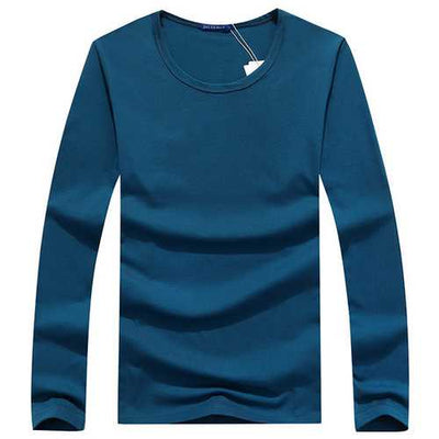 Mens Big Size Solid Color O-neck Fashion Casual Cotton Spring Autumn Long Sleeve T-shirt