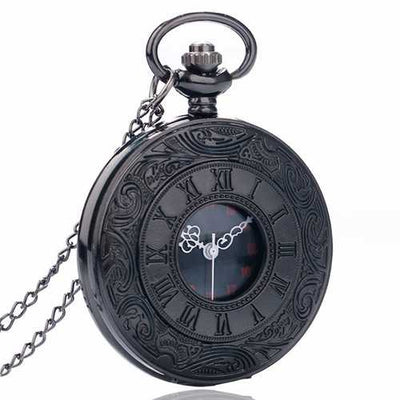 DEFFRUN P427 Retro Punk Style Roman Number Jewelry Collection Quartz Chain Pocket Watch