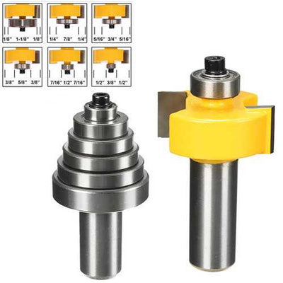 Drillpro RB31 2pcs 1/2 Inch Shank Cemented Carbide Router Bit With 6 Bearing Bit Set
