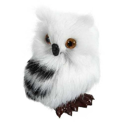 Owl White Black Furry Christmas Ornament Decoration Adornment Simulation H2.75""
