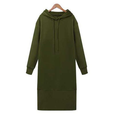Casual Women Pure Color Long Sleeve Drawstring Hooded Sweatshirt Dresses