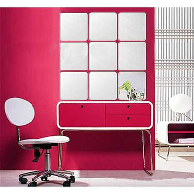 Honana BX-190 Mirror 3D Acrylic Silver Wall Sticker Decal Bathroom DIY Square Mirror Sticker