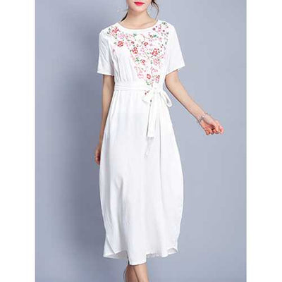 Floral Embroidered O-Neck Short Sleeve Women Casual Dresses