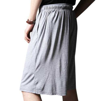 Men Casual Home Comfort Breathable Loose Elastic Big Size Knee Length Sleepwear Lounge Shorts