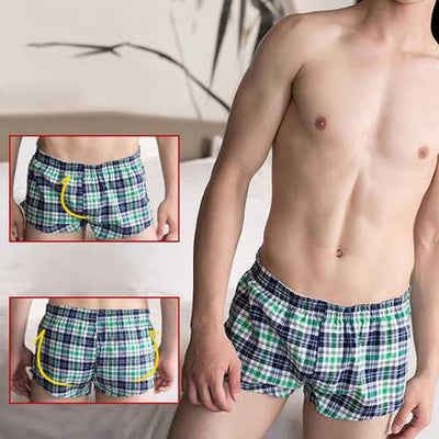 Mens Plaid Printing Arrow Shorts Home Wear Sport Low Rise Boxer Underwear