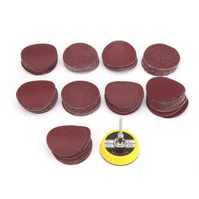 50mm Polishing Disc 3mm Round Shank Sanding Disc with 100Pcs 40-100 Grit Sandpaper