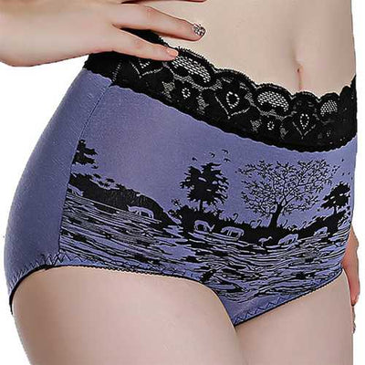 Comfy Lace-trim Mid Waist Menstrual Leak Proof Full Hips Breathable Panties