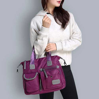 Women Nylon Waterproof  Large Capacity Multi Pocket Multifunction Handbag