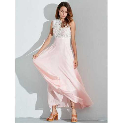 Celmia Sexy Women Hollow Lace with Lining Sleeveless Long Dresses