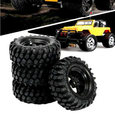 4PCS 1/10 12mm Off-road Vehicle Tyre Tires Rims Wheel Complete Remote Control Car Part