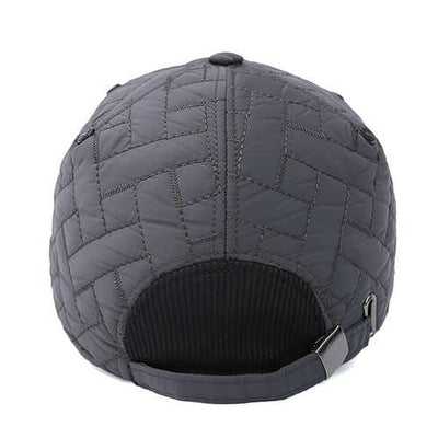 Mens Solid Plaid Earmuff Warm Baseball Cap