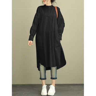 Women Buttons Asymmetric Shirt Dress