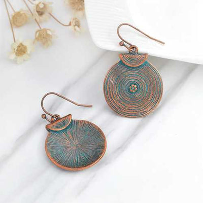 Vintage Women Alloy Round Growth Ring Drop Earrings