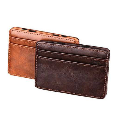PU Money Card Clip Magic Wallet Casual Clutch Bus Card Bag