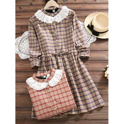 Mori Girl Plaid Drawstring Waist Dress