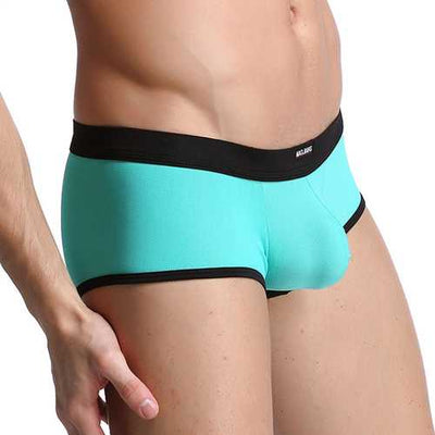 Mens Sexy Breathable U Convex Splicing Color Soft Boxer Brie