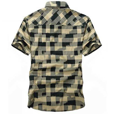 Mens Plaid Printing Loose Business Summer Cotton Shirt