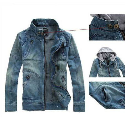Detachable Hood Fashion Casual Zipper Denim Jackets for Men