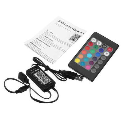 DC5-12V 72W Mini Smart WiFi Remote Controller Work With Alexa Google Home For RGB LED Strip Light